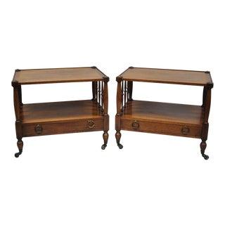 Vintage Heritage Henredon Regency Style Banded Walnut Wide End Side Tables - a Pair For Sale
