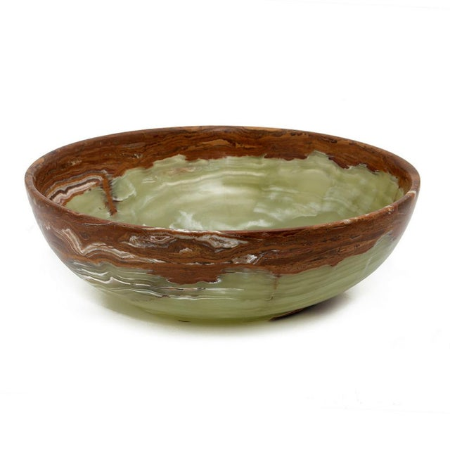 """A 12"""" Laurus Collection Whirl Green Onyx Bowl."""