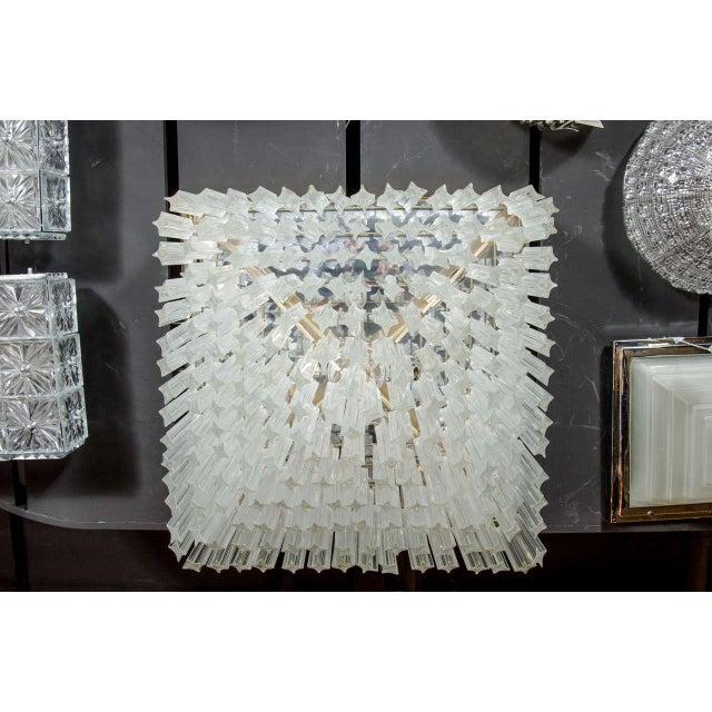 Camer Glass Mid-Century Modernist Crystal Flush Mount Chandelier by Camer For Sale - Image 4 of 7