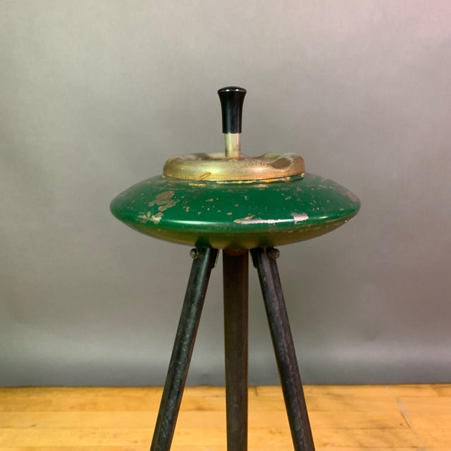 Black Pair 1940s Italian Painted Metal Standing Ashtrays For Sale - Image 8 of 12