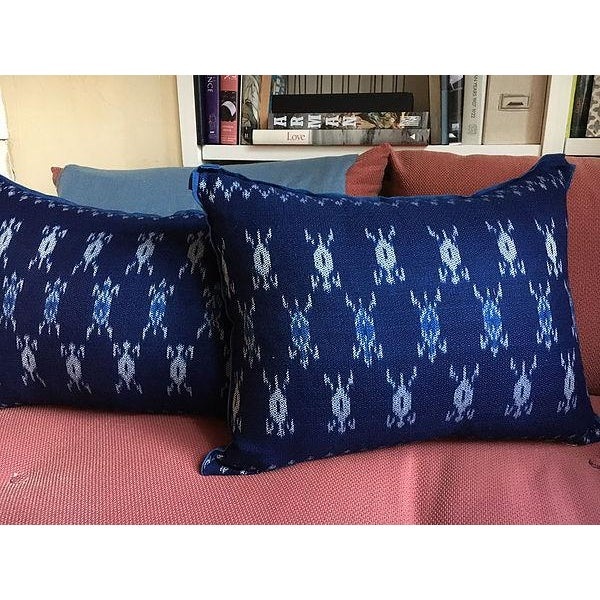 Indigo Ikat Laos Textile Pillow For Sale - Image 5 of 5