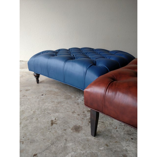 Gambrell Renard Tufted Blue Leather Ottoman - Image 6 of 7