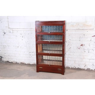 Globe Wernicke Four-Stack Barrister Bookcase With Leaded Glass Doors, Circa 1920s Preview
