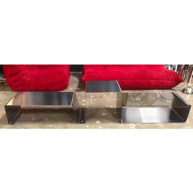 Mid-Century Modern Sculptural Coffee Table Made of Three Modular Glass and Chrome Pieces, 1970s For Sale - Image 3 of 12