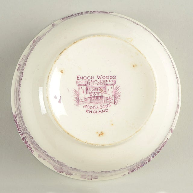Early 20th Century Wood & Sons Castles Purple Cranberry Bowl For Sale In Greensboro - Image 6 of 8