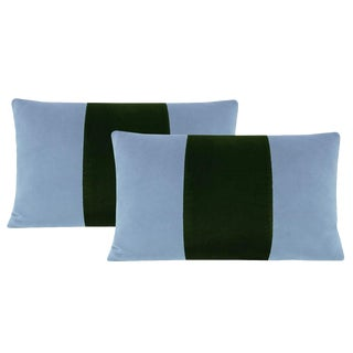 "12""x18"" Hydrangea Blue and Fern Velvet Lumbar Pillows - a Pair For Sale"