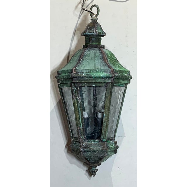 1970s Solid Brass Verdigris Hanging Lantern For Sale - Image 4 of 13