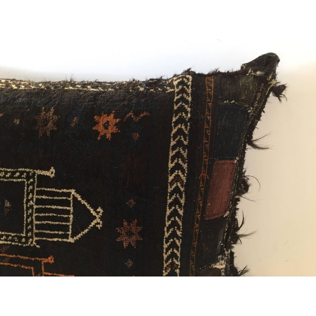 Handmade Antique Collectible Afghan Baluch Saddle Bag Tribal Large Floor Cushion For Sale - Image 12 of 13