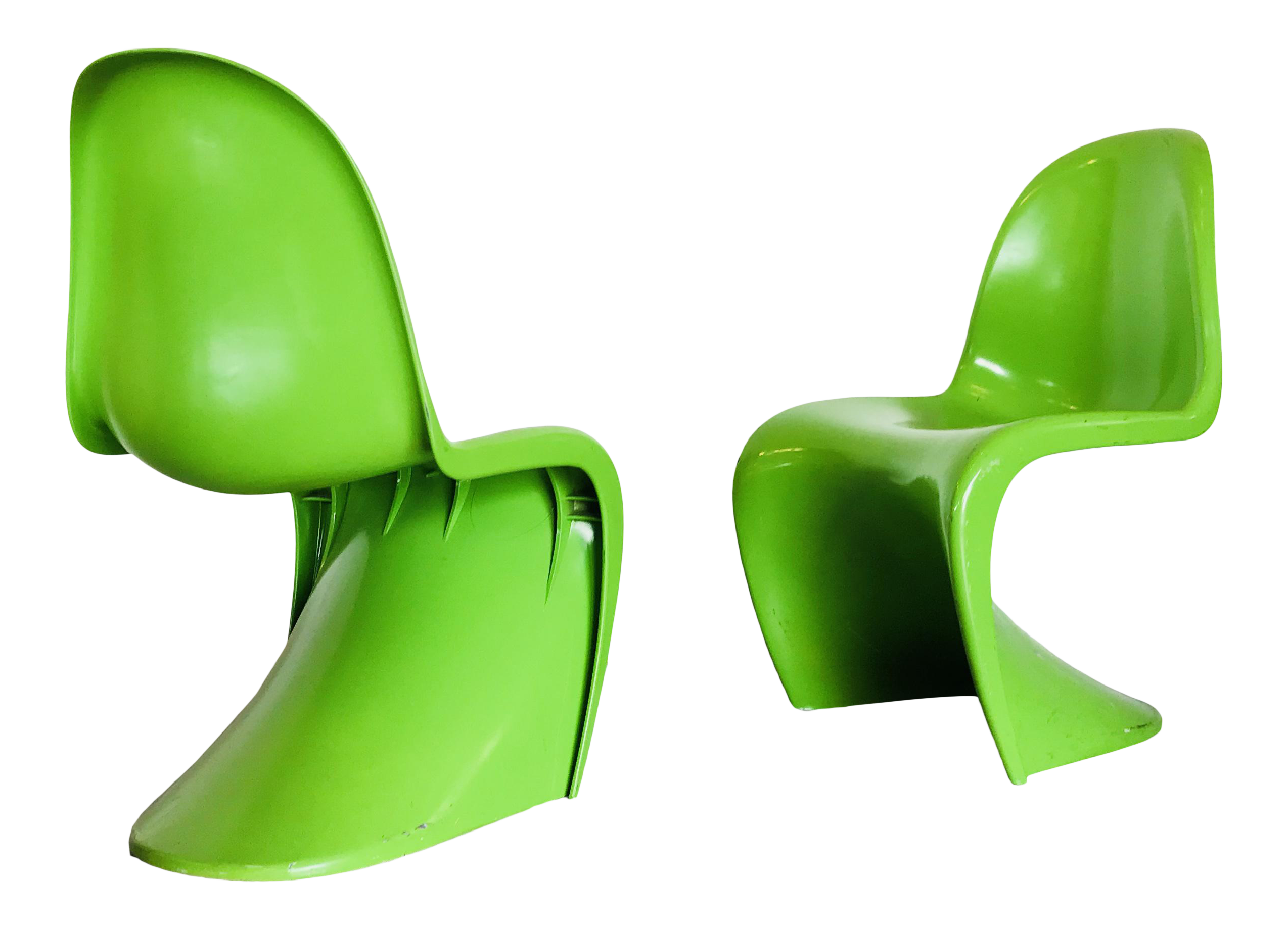 Verner Panton Attributed Mid Century Modern Lime \ S\  Chairs - a Pair  sc 1 st  Chairish & Verner Panton Attributed Mid Century Modern Lime \