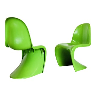 "Verner Panton Attributed Mid Century Modern Lime ""S"" Chairs - a Pair"