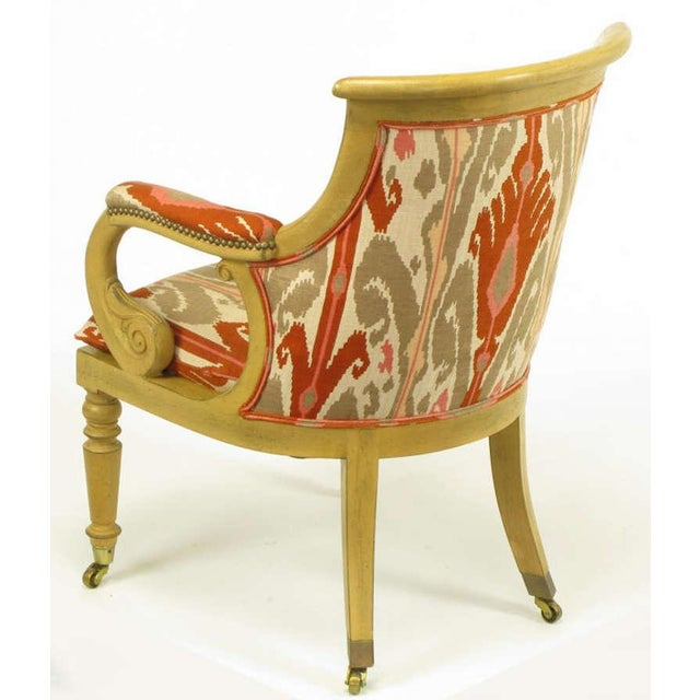 Pair Interior Crafts Regency Scrolled Arm Chairs In Ikat Fabric - Image 8 of 10