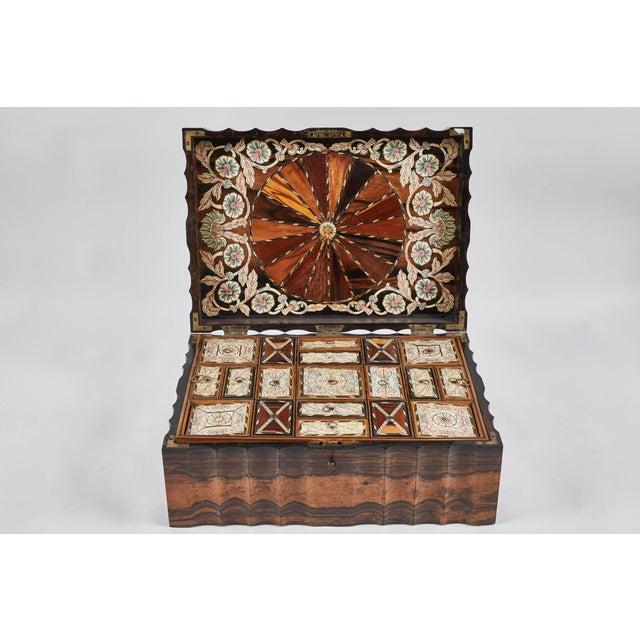 Ebony 1882 King Ebony Inlaid Presentation Box For Sale - Image 7 of 11