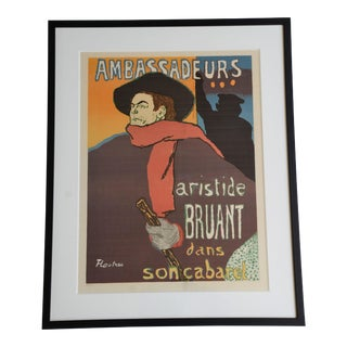 "Framed Lithograph Print ""Aristide Bruant - Ambassadeurs"" by Henri De Toulouse-Lautrec For Sale"