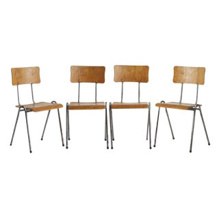 Set of 4 Stacking Classroom Chairs from Belgium Circa 1950s