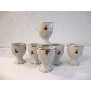 1950s Mid-Century Porcelain Rose Egg Cups - Set of 6 Preview