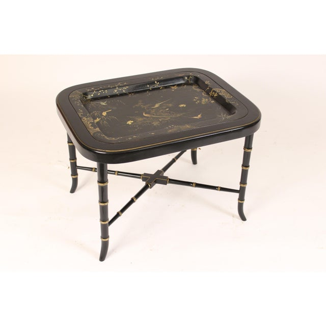 English Regency Style Paper Mache Tray Table For Sale - Image 11 of 11