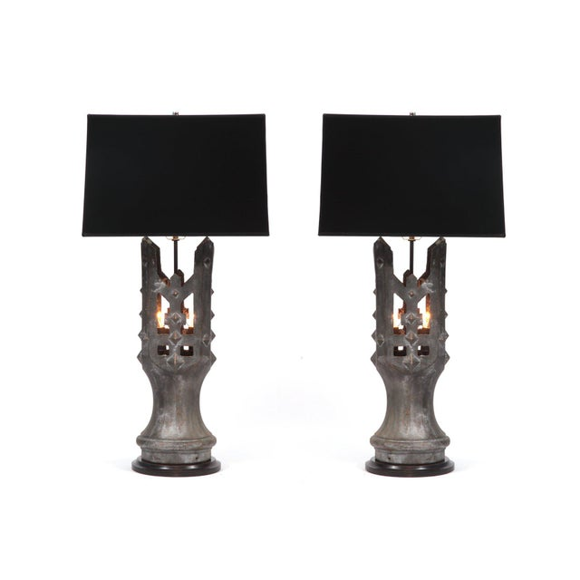 1930s Pair of 1930s Solid Bronze Table Lamps For Sale - Image 5 of 5