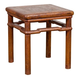Chinese Antique Ming Style Distressed Wood Side Table with Humpback Stretcher For Sale