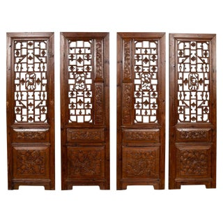 19th Century Carved Elm Screen Panels with Fretwork, Foliage and Floral Motifs - Set of 4 For Sale