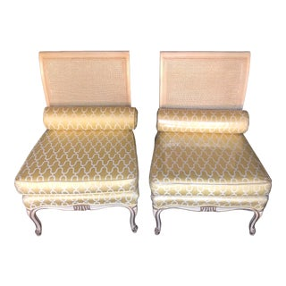 Mid Century Vintage Oversized Cane Slipper Chairs- A Pair