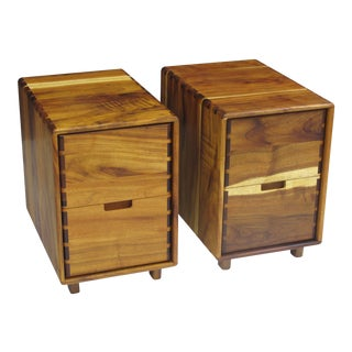 Jim Sweeney Koa Filing Cabinets - a Pair For Sale