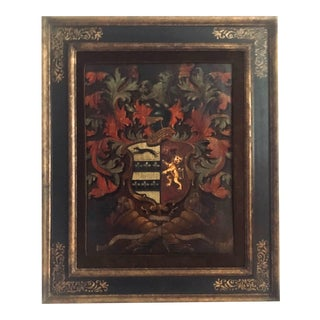 Antique English Palmer Family Crest Painted Oil on Board For Sale
