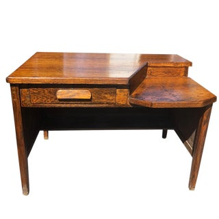 Antique Tiger Oak 2 Tier Lawyers Office Executive Desk