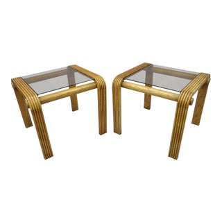 Vintage Lou Hodges Style Mid-Century Modern Oak Wood Floating Glass Tables- A Pair For Sale