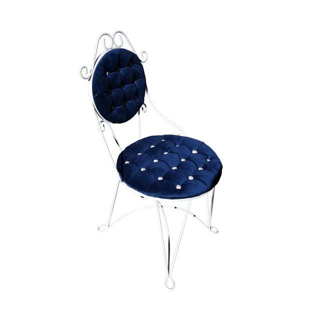 Jean Royère 1960s Antique Iron Blue Velvet Vanity Single Chair For Sale - Image 4 of 7