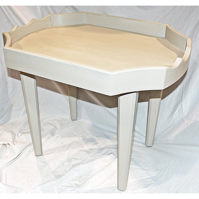 Ivory Chinoiserie-Style Brass Tray Cocktail Table For Sale - Image 5 of 7