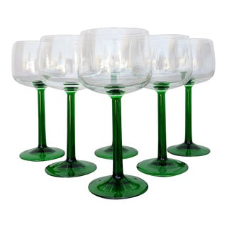 French Green Stem Wine Glasses - Set of 6 For Sale