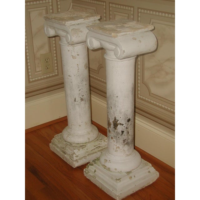 Plaster Architectural Plaster Column Table Bases - a Pair For Sale - Image 7 of 8