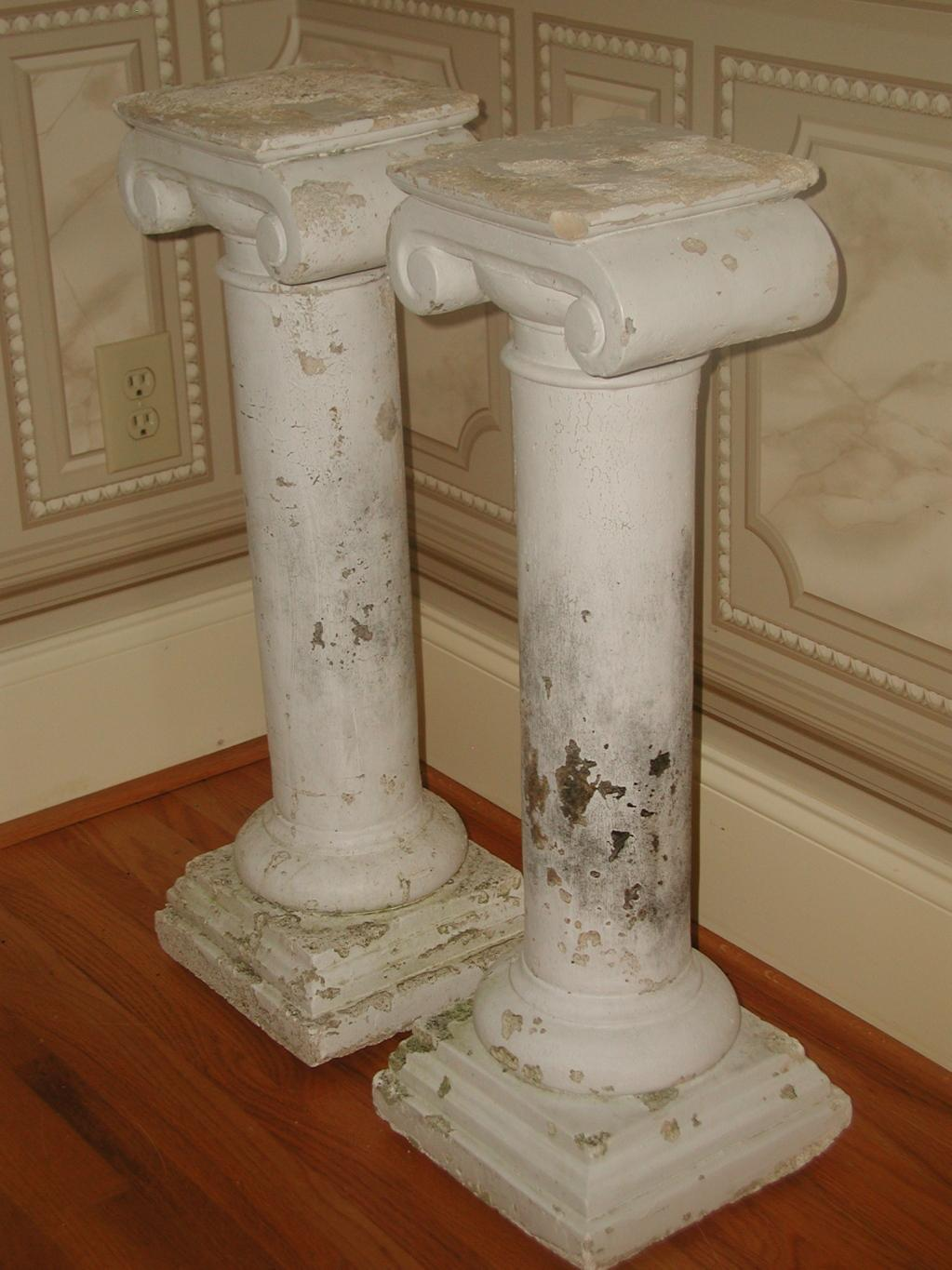 Gentil Plaster Architectural Plaster Column Table Bases   A Pair For Sale   Image  7 Of 8
