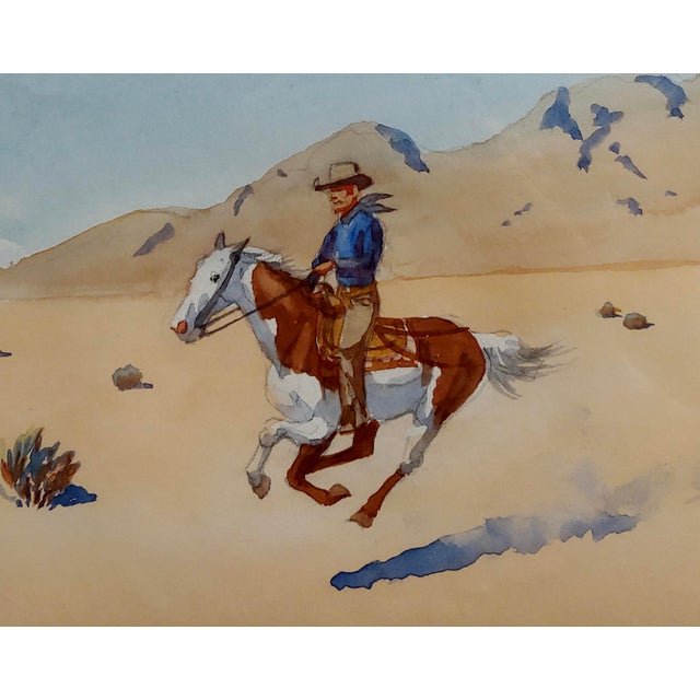 "Leonard Reedy ""Cowboy Desert Rider"" Painting For Sale - Image 4 of 8"