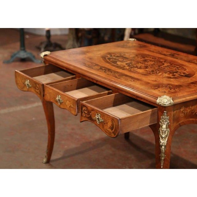 Metal Early 19th Century French Louis XV Marquetry Lady's Desk With Bronze Mounts For Sale - Image 7 of 11