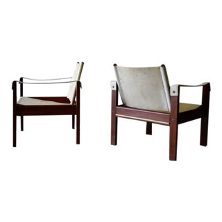 Mid Century Modern Leather + Rosewood Safari Armchairs For Sale