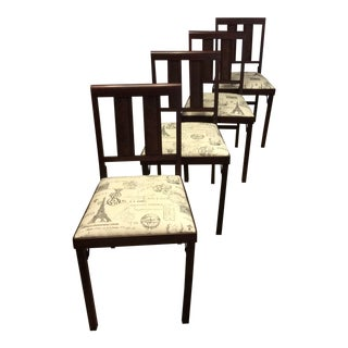 Vintage Wooden Leg-O=Matic Folding Chairs - Set of 4 For Sale