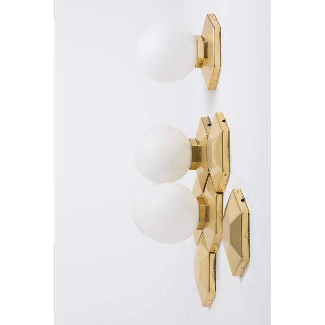 1970s Multiple Brass and Glass Flush Mounts for Modular Installation For Sale - Image 5 of 9