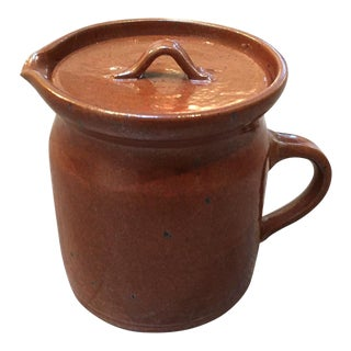Small Brown Pottery Jug / Pitcher For Sale