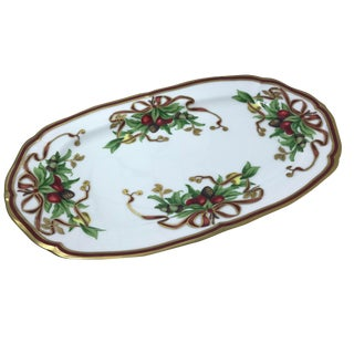 Tiffany Porcelain Holiday Oval Serving Tray For Sale