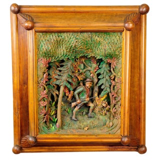 Antique Black Forest Carved Wood Poacher Diorama For Sale