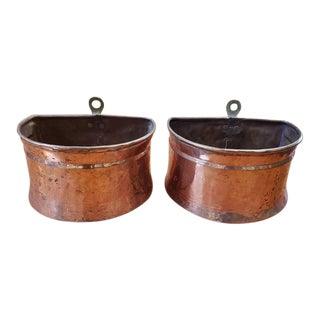 C.1920 Hand Made French Copper Plant Holders - a Pair For Sale