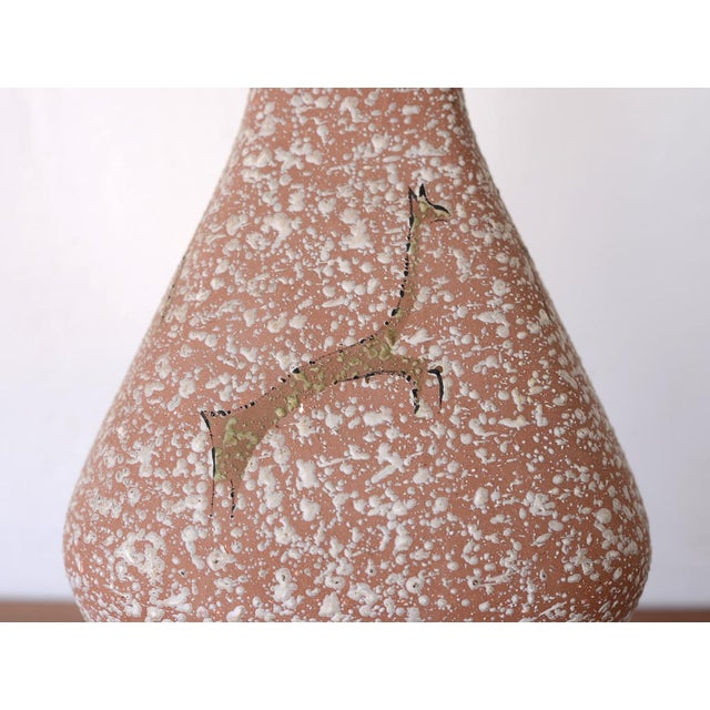 Metal Mid Century Lascaux Cave Paintings Ceramic Table Lamp For Sale - Image 7 of 12