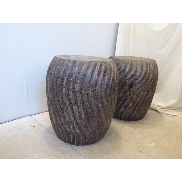Modern Vintage Carved Burnt Wood Stools - a Pair For Sale - Image 3 of 6