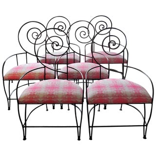 "1970s Vintage Iron ""Swirl"" Back Chairs-Set of 6 For Sale"