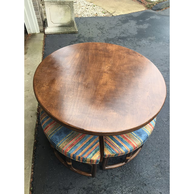 Contemporary 1970's Vintage Walnut Adjustable Games Table & Stools- 5 Pieces For Sale - Image 3 of 11