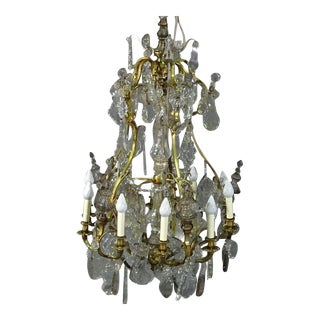 Brass Louis XVI Style 1930s Crystal Pendant Chandelier With Crystal Spires For Sale
