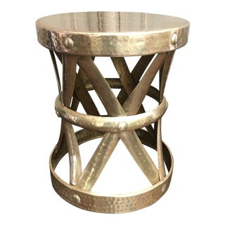 Sarreid Style Modernist Hammered Brass Stool or Table For Sale