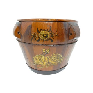 Antique Chinese Hand-Painted Round Wood Box
