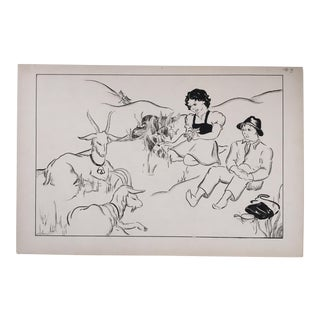 """Vintage """"Heidi , Peter, and His Goats"""" Pen and Ink Drawing For Sale"""